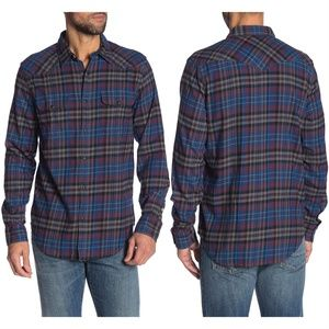 Lucky Brand Saturday Stretch Plaid Western Shirt